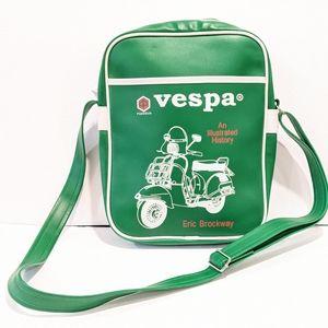 Vespa green vinyl messenger bag